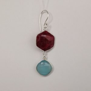 Silver Drop Earrings - 56mm Hexagon Ruby and Chalcedony