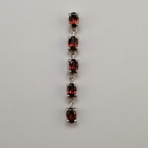 Silver Drop Earrings - 6x4mm Claw Set Garnet Row