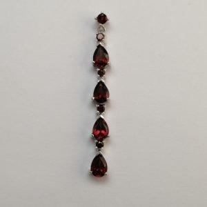 Silver Drop Earrings - 7x5mm Pear Shaped Garnet Row