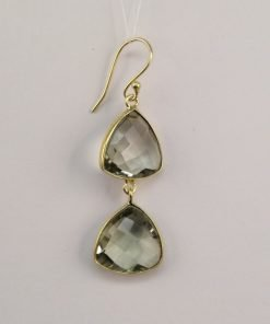 Silver Drop Earrings - 51mm Gold Plated Checkerboard Green Amethyst