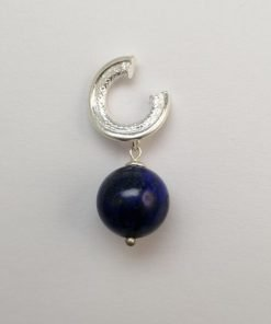 Silver Drop Earrings - 33mm Circle with Lapis Lazuli Bead
