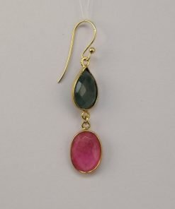 Silver Drop Earrings - 52mm Gold Plated Checkerboard Multi-colour