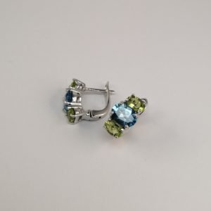 Silver Stud Earrings - Claw Set London Blue Topaz and Peridot with Hinged Clip
