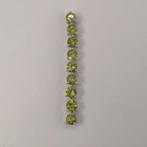Silver Drop Earrings - 5mm Claw Set Peridot Row