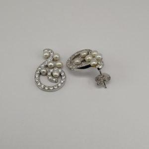 Silver Stud Earrings - 19mm Freshwater Pearl and Cubic Zirconia Swirl