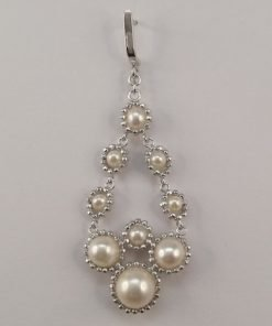 Silver Drop Earrings - 61mm Freshwater Pearl and Ball Chain Chandelier