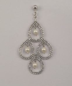 Silver Drop Earrings - 52mm Freshwater Pearl and Ball Chain Chandelier