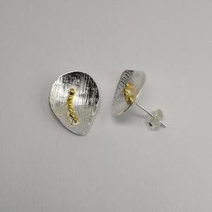 Silver Stud Earrings - 19mm Textured Concave with Gold Plating
