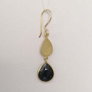 Silver Drop Earrings - 51mm Gold Plated Checkerboard Sapphire