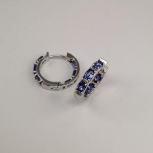 Silver Hoop Earrings - 21mm Hinged Tanzanite