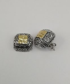 Silver Stud Earrings - 14mm Textured Gold Plated Square