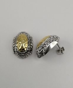 Silver Stud Earrings - 14mm Textured Gold Plated Oval