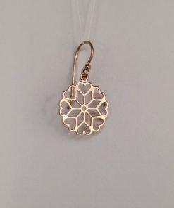 Silver Drop Earrings - 27mm Rose Gold Plated Mandala
