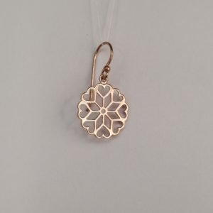 Silver Drop Earrings - 27mm Rose Gold Plated Mandala