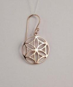 Silver Drop Earrings - 33mm Rose Gold Mandala