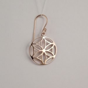 Silver Drop Earrings - 33mm Rose Gold Mandala