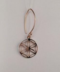 Silver Drop Earrings - 37mm Rose Gold Plated Flower Mandala