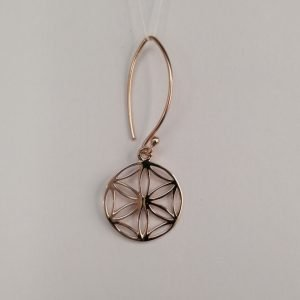 Silver Drop Earrings - 37mm Rose Gold Plated Flower Mandala