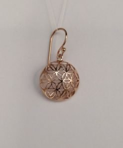 Silver Drop Earrings - 28mm Rose Gold Plated Flower Cut Out Dome
