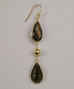 Silver Drop Earrings - 72mm Gold Plated Pear Shaped Labradorite