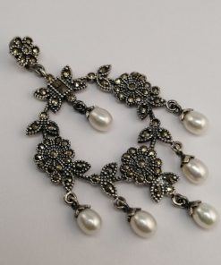 Silver Pendants - 62mm Marcasite and Freshwater Pearl Chandelier