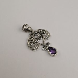Silver Pendants - 33mm Pear Shaped Amethyst with Spiral Detail