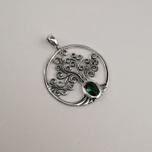 Silver Pendants - 34mm Tree of Life with Oval Green Agate