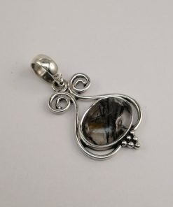 Silver Pendants - 45mm Rutilated Quartz with Wire Detail