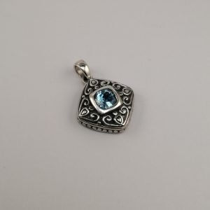 Silver Pendants - 26mm Cushion Cut Blue Topaz with Filigree Detail