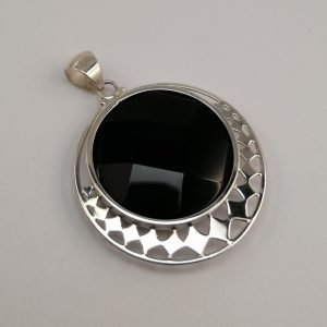 Silver Pendants - 42mm Checkerboard Onyx with Cut Out