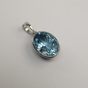 Silver Pendants - 30mm Tube Set Oval Blue Topaz