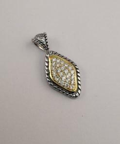 Silver Pendants - 34mm Gold Plated Cubic Zirconia Diamond Shape