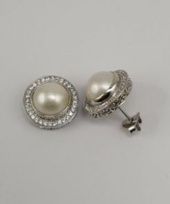 Silver Stud Earrings - 10mm Mabe with Cubic Zirconia Rim