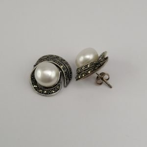 Silver Stud Earrings - 17.5mm Marcasite and Freshwater Pearl