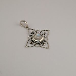 Silver Pendants - 42mm Moontstone with Filigree