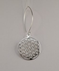 Silver Drop Earrings - 48mm Mandala with Cubic Zirconia