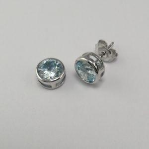 Silver Stud Earrings - 7mm Light Blue Tube Set Cubic Zirconia