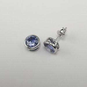 Silver Stud Earrings - 7mm Blue Tube Set Cubic Zirconia