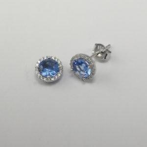 Silver Stud Earrings - 6mm Light Blue Cubic Zirconia Halo