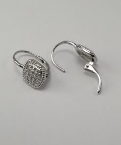 Silver Stud Earrings - 9mm Pave Set Cubic Zirconia Cushion Shape with Hinged Clip