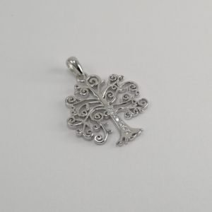 Silver Pendants - 19mm Spiral Tree with Cubic Zirconia