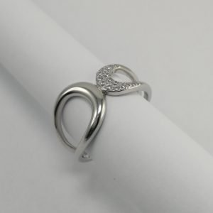 Silver Rings - 13mm Cubic Zirconia Curve