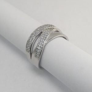 Silver Rings - 10mm Pave Set Flat Broad Crossover
