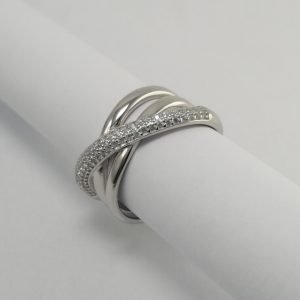 Silver Rings - 12mm Pave Set Rounded 3 Band Crossover