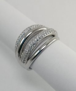 Silver Rings - 15mm Pave Set Rounded 4 Band