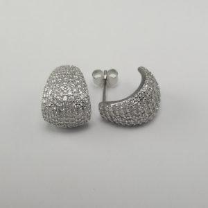 Silver Hoop Earrings - 11mm Cubic Zirconia Encrusted