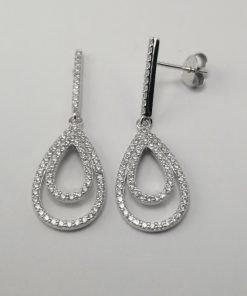 Silver Drop Earrings - 32mm Cubic Zirconia Teardrop