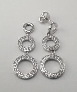 Silver Drop Earrings - 36mm Cubic Zirconia 3 Circle