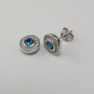 Silver Stud Earrings - 4mm Tube Set Blue Cubic Zirconia Halo
