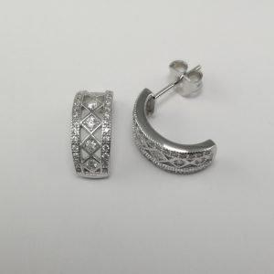 Silver Hoop Earrings - 15mm Cubic Zirconia Patterned